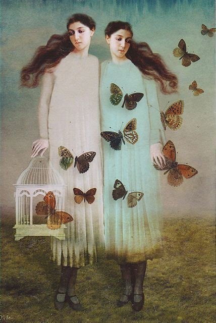 Painting Two Girls With Butterflies Somewhat Surreal