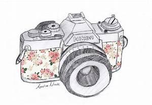 floral camera drawing | Tumblr