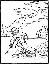 Skiing Mountains Colouring Drawing Kiddicolour Age Receiver Mail sketch template