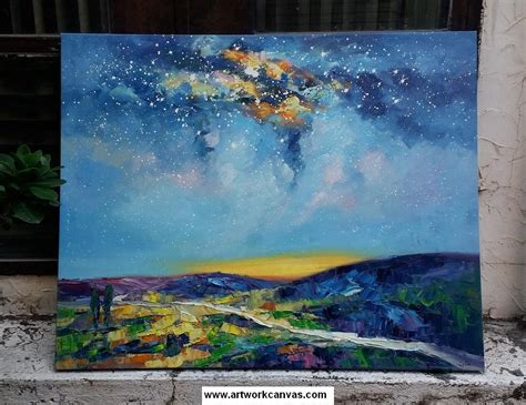 starry night sky painting abstract landscape painting