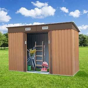 Jaxpety, 9, U0026, 39, X, 4, U0026, 39, Outdoor, Backyard, Garden, Metal, Storage, Shed, For, Utility, Tool, Storage, Sloped, Flat