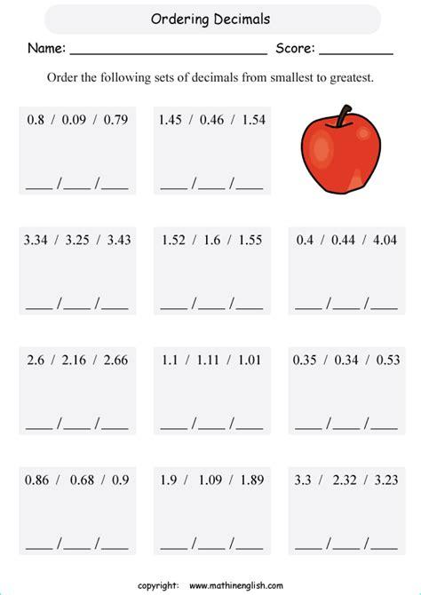 comparing decimals worksheet  grade   worksheet