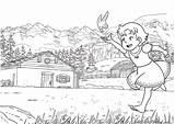 Coloring Alps Pages Heldi Heidi Print Cartoon 593px 25kb sketch template