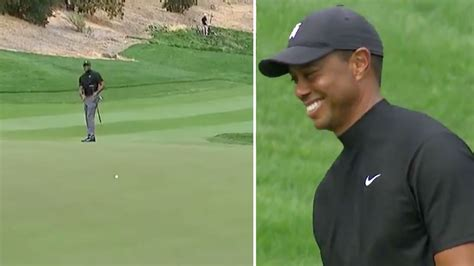 Tiger Woods can only laugh after holing putt from nearly ...