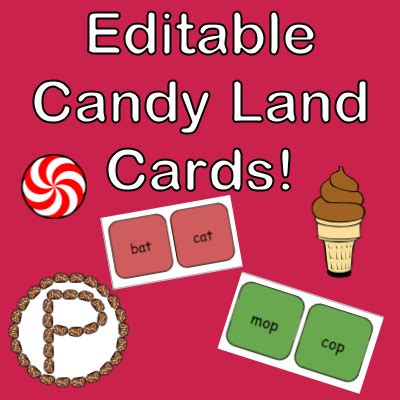 editable candy land cards learning  christine pinto