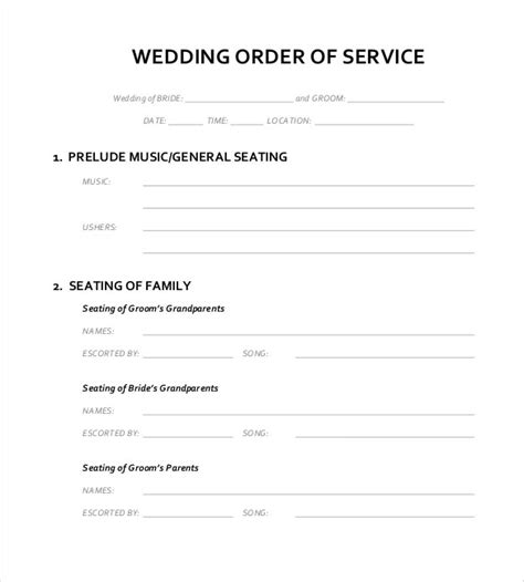 wedding order  service templates  sample