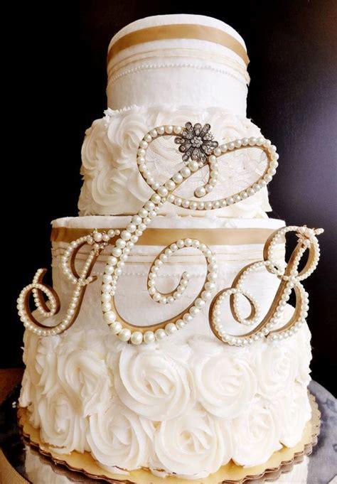 ivory pearl wedding cake topper  letter monogram set