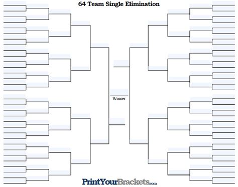 Tournament Bracket Editable Template by Fillable 64 Team Tourney Bracket Editable Bracket