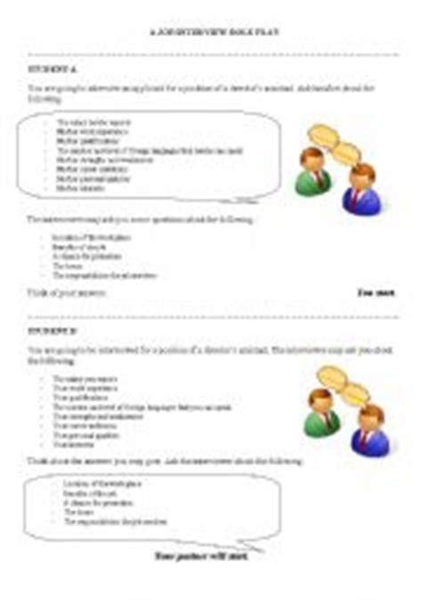 english teaching worksheets job interview role play