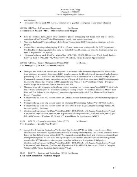 Software Tester Resume Sle Australia by Mg Resume 2012 V2