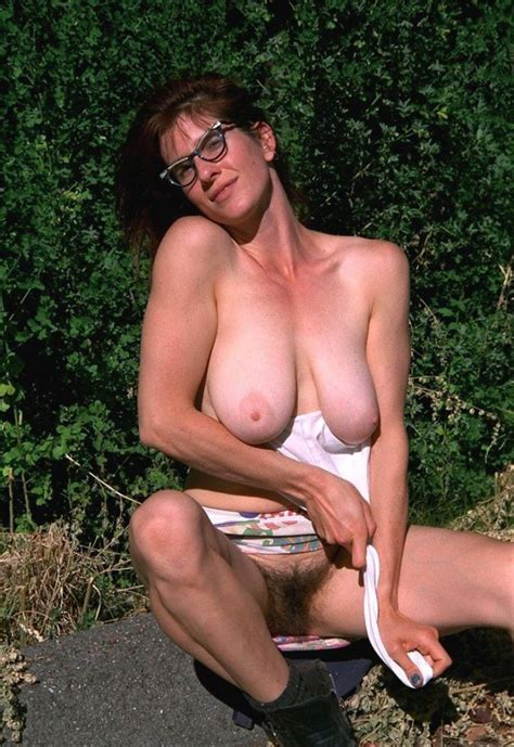 Busty Wife Shows Her Super Hairy Muff Outdoors