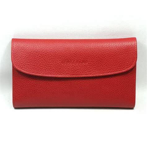 longchamp veau foulonne leather rouge checkbook wallet