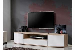 Meuble Tele Bas : meuble tele bas blanc laqu et bois 1m90 novomeuble ~ Teatrodelosmanantiales.com Idées de Décoration
