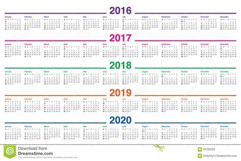 Calendário 2016 2017 2018 2019 2020 Ilustração Do Vetor
