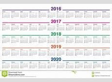 Calendario 2016 2017 2018 2019 2020 Ilustración del Vector