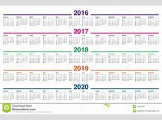 Calendrier 2016 2017 2018 2019 2020 Illustration de