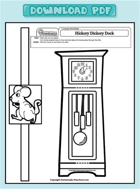 hickory dickory dock activities for preschool and interactive preschool worksheets 425