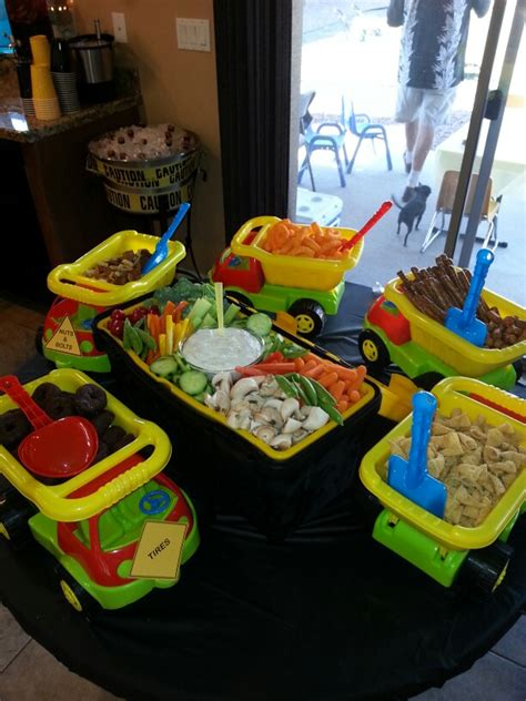 construction truck themed 1st birthday party planning ideas dump trucks with construction themed foods and a tool box