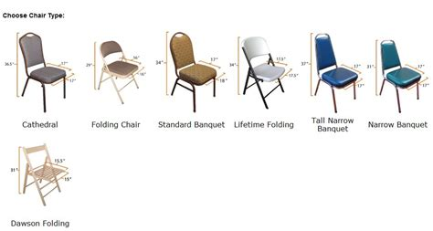 table and chair comparison charts linens and events