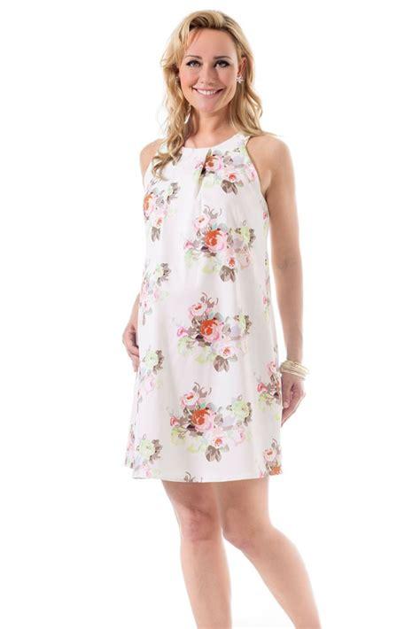 bella pleated woven maternity nursing dress  cream