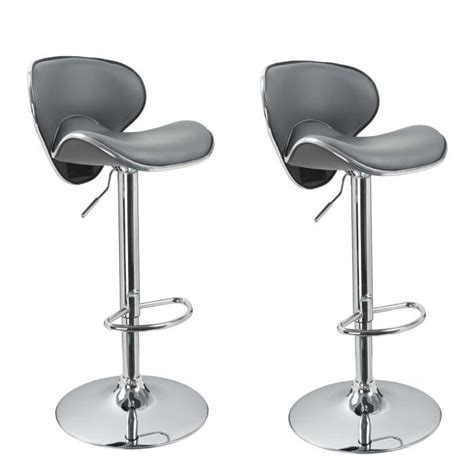 housse chaise de bar lot de 2 tabourets de bar design simili cuir gris achat