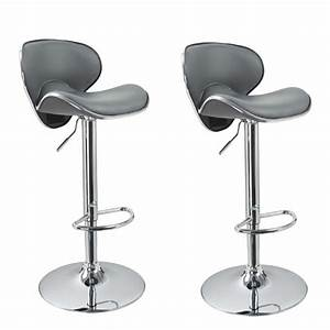 Tabouret De Bar Cuir : lot de 2 tabourets de bar design simili cuir gris achat ~ Dailycaller-alerts.com Idées de Décoration