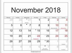 November 2018 Calendar With Holidays calendar month
