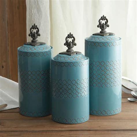 blue kitchen canister atelier blue canister set set of 3