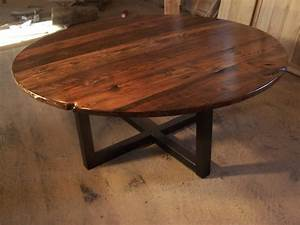 Large round coffee table with industrial metal base for Large round rustic coffee table