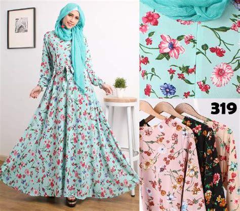 gamis cantik motif bunga  crepe baju muslim modern