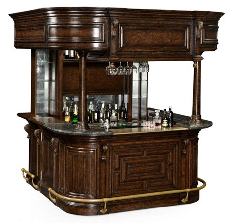 home bar oak wood granite top with brass rail and canopy