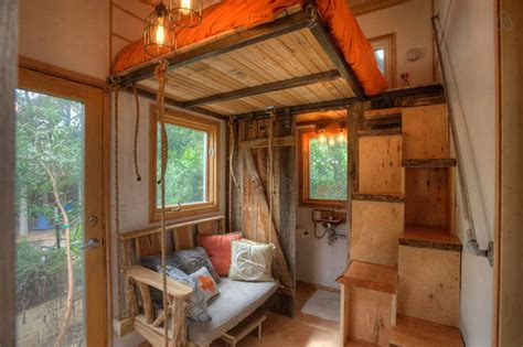 """Tiny Backyard Home With """"floating"""" Loft Brings The"""