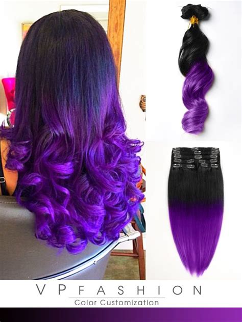 Black To Dark Purple Mermaid Colorful Ombre Indian Remy