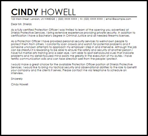 protection officer cover letter sample cover letter templates examples