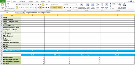 Budget Worksheet For College Students  Excel Tmp