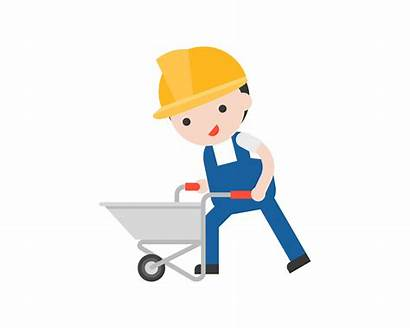 Cement Worker Cart Pushing Empty Vector Clipart