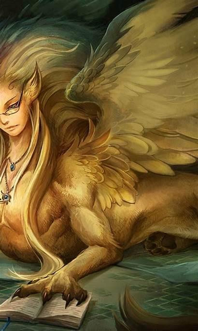 Sphinx Fantasy Wings Wallpapersafari Mobile Wallpapers Allwallpaper