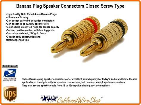 Banana Plug 12/18 Awg Gold Finished Closed Screw Speaker