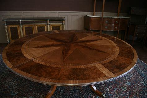 10 person round dining table large round mahogany dining table w leaves perimeter ebay