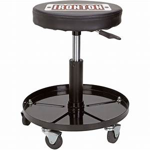 Chair: Workshop Stool With Rolling Stool And Seat Pad For