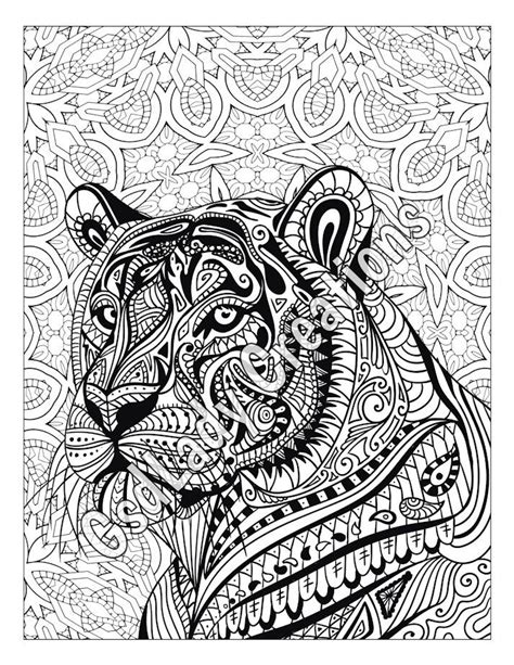 zen tiger animal art page to color zentangle animal