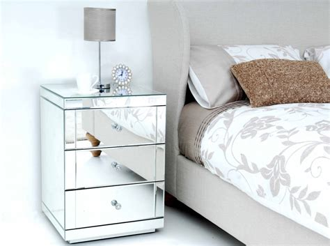 white mirrored nightstand minimalist bedroom with 3 drawer white mirrored nightstand