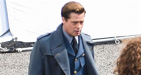 brad pitt continues filming allied  london brad pitt