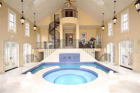Gorgeous Residential Indoor Pool Interior Design With