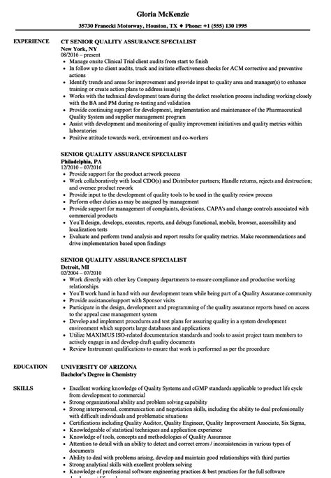 Quality Specialist Resume by Quality Assurance Specialist Resume Resume Ideas