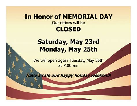 memorial day closed sign template robinsonsg