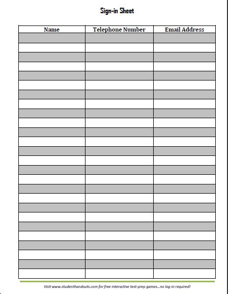 Sign In Sheet Template Word Sign In Sheet Templates Find Word Templates