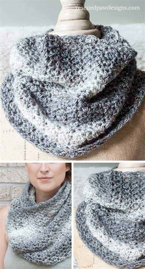 shimmering crochet cowl scarf pattern rescued paw designs
