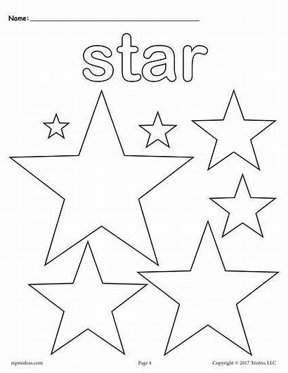 Coloring Pages Star Shape Shapes Preschool Printable
