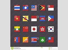 East Asia Flag Icon Set Metro Style Stock Image Image
